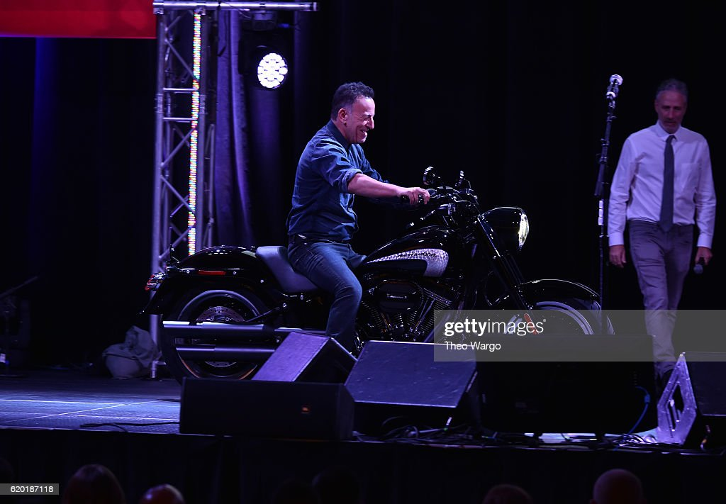 Bruce Springsteen arrives on stage on a motorcycle during 10th Annual Stand Up For Heroes at The Theater at Madison Square Garden on November 1, 2016 in New York City.