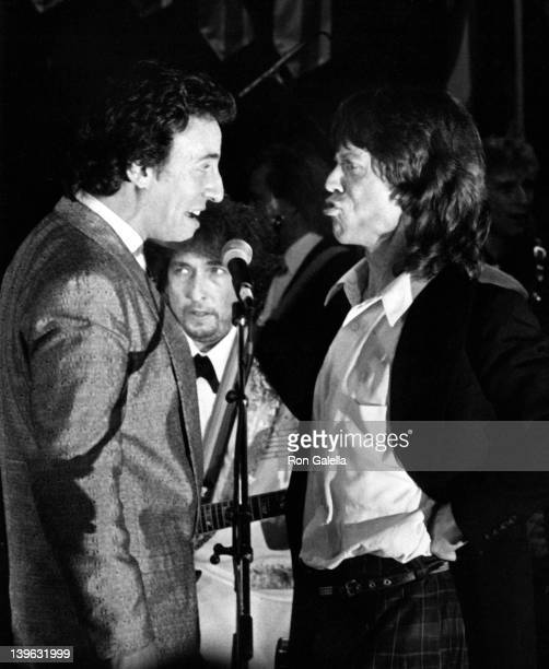 Bruce Springsteen Bob Dylan and Mick Jagger attend Third Annual Rock and Roll Hall of Fame Awards on January 20 1988 at the Waldorf Hotel in New York...