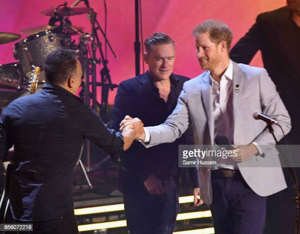 Bruce Springsteen Bryan Adams and Prince Harry on day 8 of the Invictus Games Toronto 2017 on September 30 2017 in Toronto Canada The Games use the...