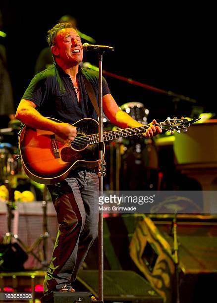 Bruce Springsteen during a sound-check ahead of the first show of his Wrecking Ball Tour at Brisbane Entertainment Centre on March 14, 2013 in...