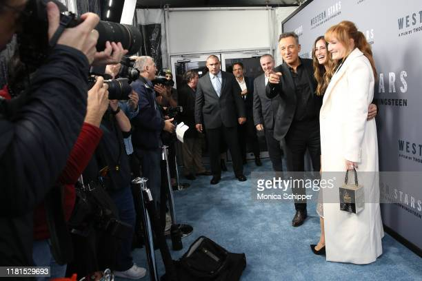 Bruce Springsteen Jessica Rae Springsteen and Patti Scialfa attend the Western Stars New York screening at Metrograph on October 16 2019 in New York...