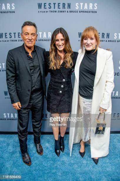 Bruce Springsteen Jessica Rae Springsteen and Patti Scialfa attend Western Stars New York Screening at Metrograph on October 16 2019 in New York City