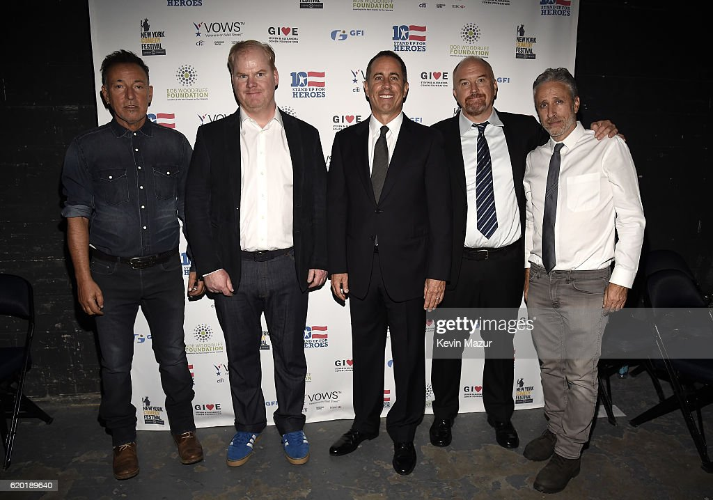 Bruce Springsteen, Jim Gaffigan, Jerry Seinfeld, Louis C.K., Jon Stewart pose for a photo backstage as The New York Comedy Festival and The Bob Woodruff Foundation present the 10th Annual Stand Up for Heroes event at The Theater at Madison Square Garden on November 1, 2016 in New York City.