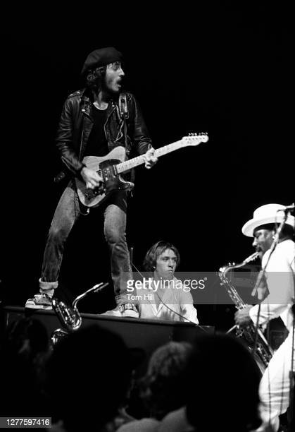Bruce Springsteen organist Danny Federici and saxophonist Clarence Clemons perform with The EStreet Band at Alex Cooley's Electric Ballroom on August...