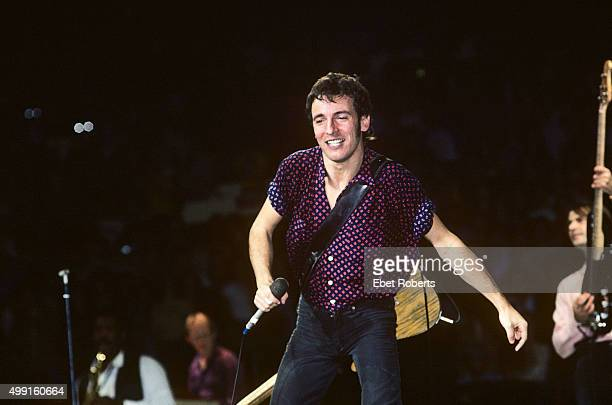Bruce Springsteen performing at Madison Square Garden in New York City in December 1980