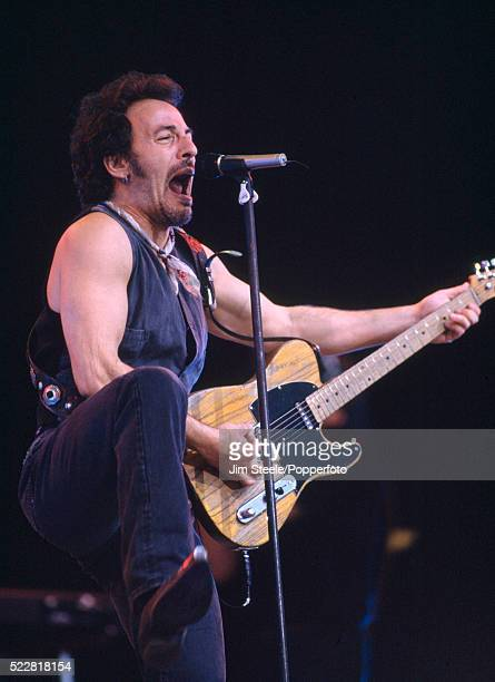 Bruce Springsteen performing on stage at the Milton Keynes Bowl in Milton Keynes, Buckinghamshire on the 22nd May, 1993.
