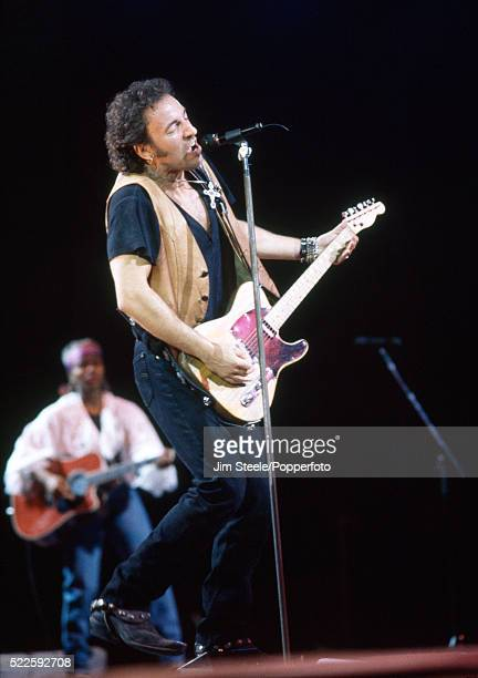 Bruce Springsteen performing on stage at the Wembley Arena in London circa July 1992