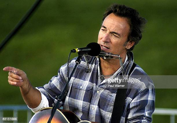 Bruce Springsteen performs at a rally for Barack Obama at Oestrike Stadium on October 6 2008 in Ypsilanti Michigan