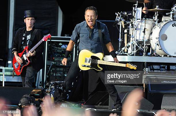 Bruce Springsteen performs at day 2 of Hard Rock Calling 2013 at The Queen Elizabeth Olympic Park on June 30 2013 in London England