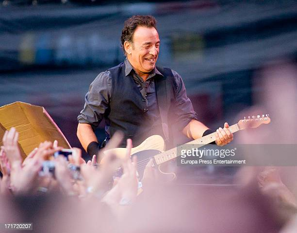 Bruce Springsteen performs during his concert at the Molinon stadium on June 26 2013 in Gijon Spain