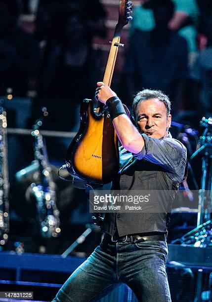 Bruce Springsteen performs during Independance Day at Palais Omnisports de Bercy on July 4, 2012 in Paris, France.