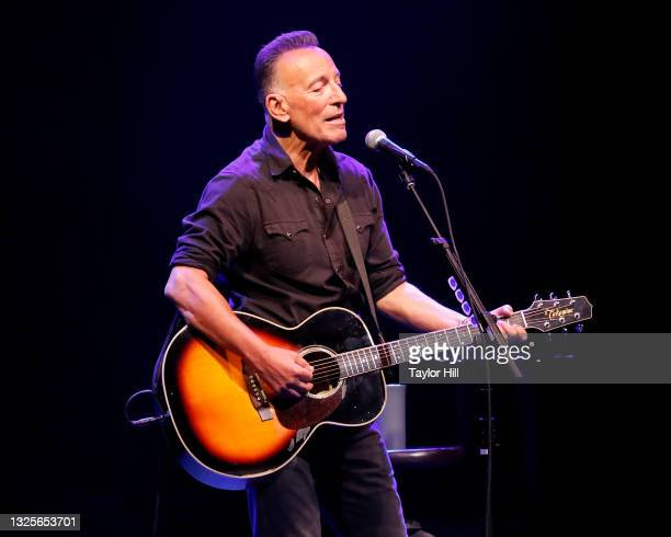 """Bruce Springsteen performs during reopening night of """"Springsteen on Broadway"""" for a full-capacity, vaccinated audience at St. James Theatre on June..."""