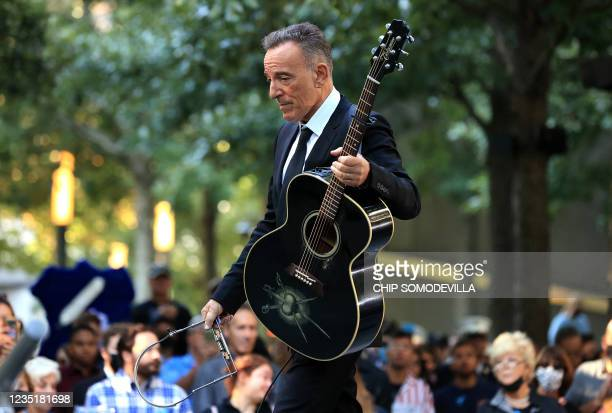 Bruce Springsteen performs during the annual 9/11 Commemoration Ceremony at the National 9/11 Memorial and Museum on September 11, 2021 in New York.