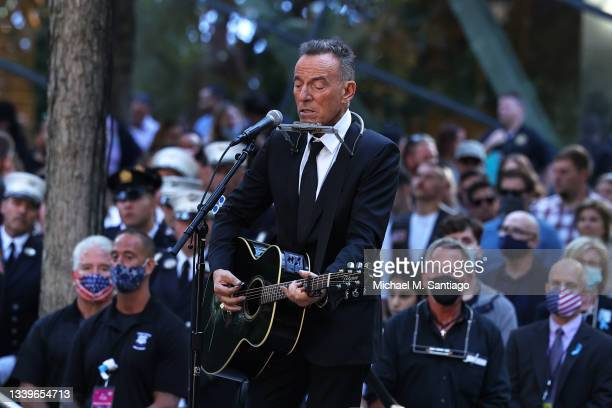 Bruce Springsteen performs during the annual 9/11 Commemoration Ceremony at the National 9/11 Memorial and Museum on September 11, 2021 in New York...
