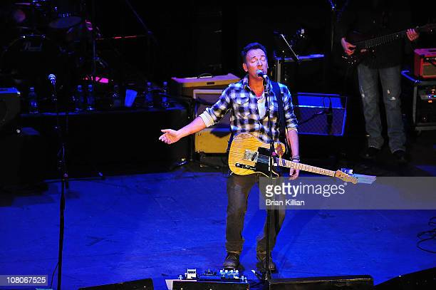 Bruce Springsteen performs during the Light Of Day Concert at the Paramount Theater on January 15 2011 in Asbury Park City