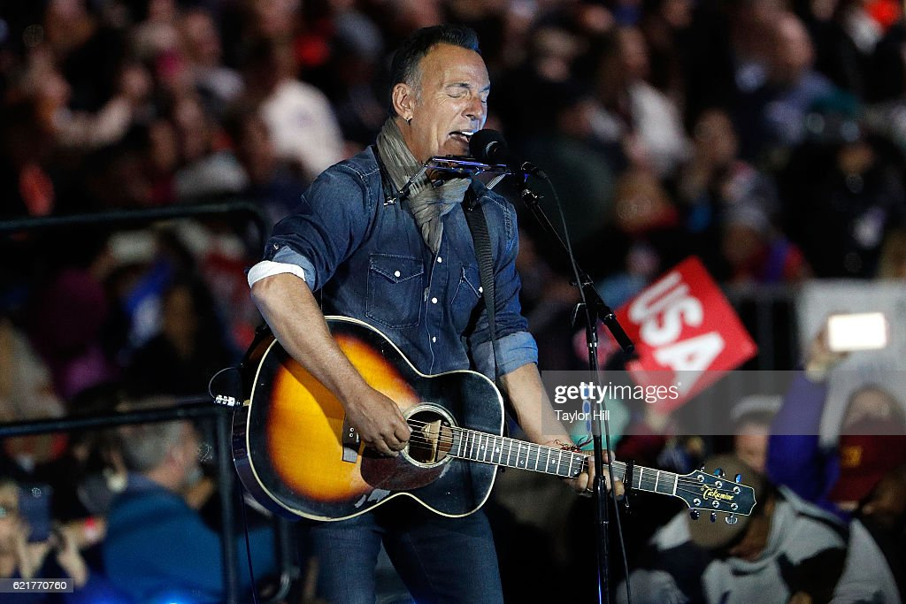 Bruce Springsteen performs during 'The Night Before' rally at Independence Hall on November 7, 2016 in Philadelphia, Pennsylvania.