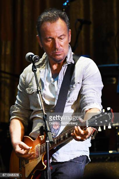 Bruce Springsteen performs during The Upstage Jam With The Upstage Allstars with a Special Appearance by Southside Johnny on April 21 2017 at the...