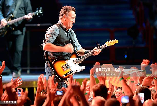 Bruce Springsteen performs for fans with the E Street Band during his Wrecking Ball Tour at Brisbane Entertainment Centre on March 14 2013 in...
