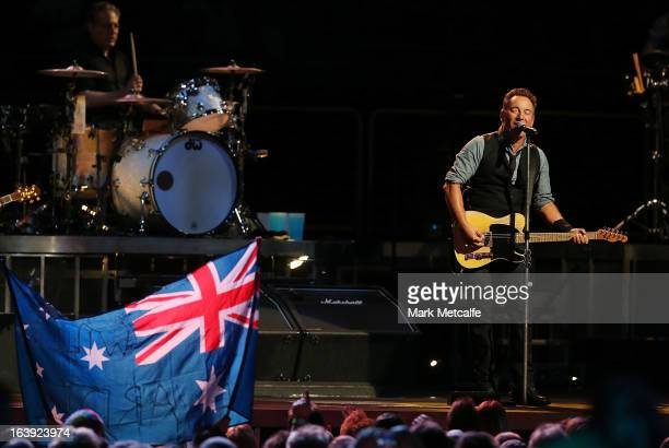 Bruce Springsteen performs for fans with the E Street Band during his Wrecking Ball Tour at Allphones Arena on March 18, 2013 in Sydney, Australia.