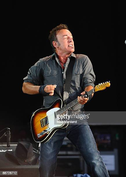 Bruce Springsteen performs on day three of Hard Rock Calling at Hyde Park on June 28 2009 in London England