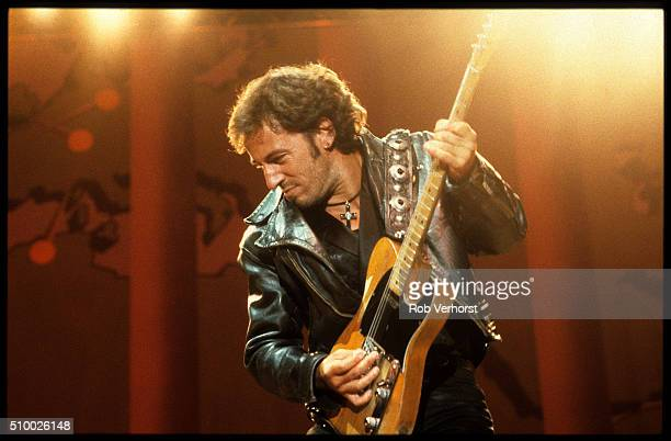 Bruce Springsteen performs on stage at an Amnesty International concert at Wembley Stadium, London, 2nd September 1988.