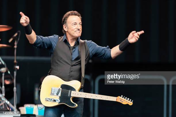 Bruce Springsteen performs on stage at the Rheinenergiestadion on May 27 2012 in Cologne Germany