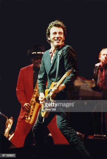 Bruce Springsteen performs on stage at Wembley Arena on May 30th 1981 in London England