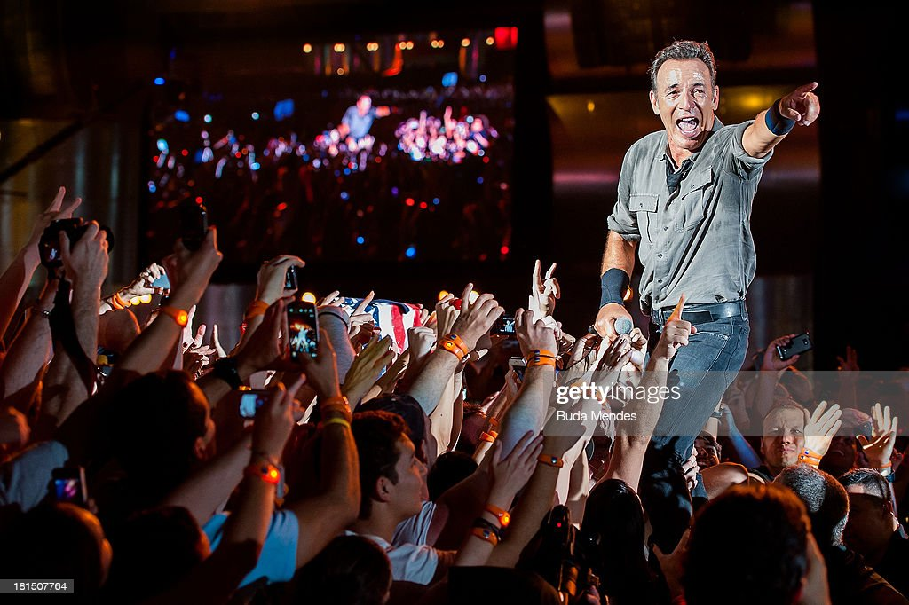 Bruce Springsteen performs on stage during a concert in the Rock in Rio Festival on September 21, 2013 in Rio de Janeiro, Brazil.