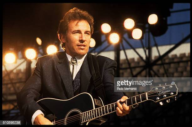 Bruce Springsteen performs on stage on the 'Tunnel of Love' tour at Feijenoord Stadion De Kuip Rotterdam Netherlands 28th June 1988