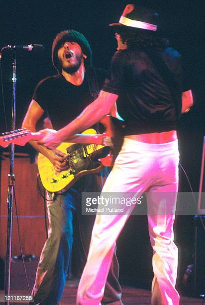 Bruce Springsteen performs on stage with Steven Van Zandt of the E Street Band at the Hammersmith Odeon in London England on November 24 1975