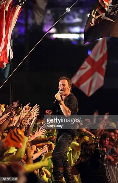Bruce Springsteen performs on the main Pyramid Stage at the Glastonbury Festival at Worthy Farm Pilton on June 27 2009 near Glastonbury England