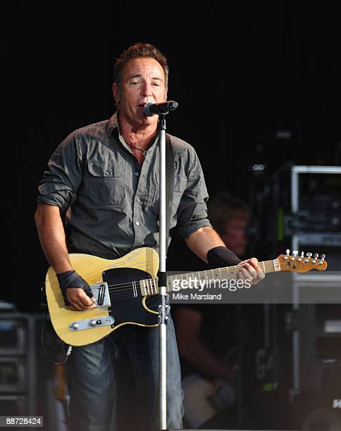 Bruce Springsteen performs on three of Hard Rock Calling at Hyde Park on June 28 2009 in London England