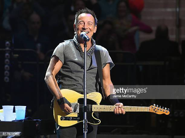Bruce Springsteen performs onstage at Madison Square Garden on March 28 2016 in New York City