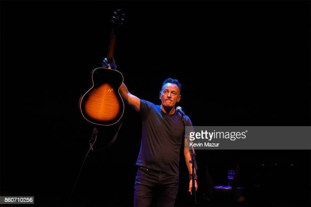 Bruce Springsteen performs onstage during 'Springsteen On Broadway' at Walter Kerr Theatre on October 12 2017 in New York City
