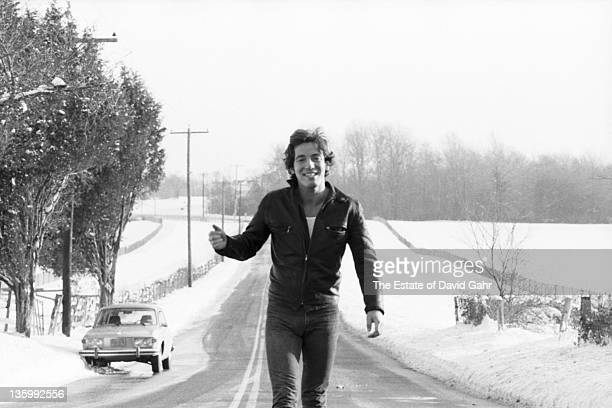 Bruce Springsteen poses for a portrait near his home in January 1977 in New Jersey