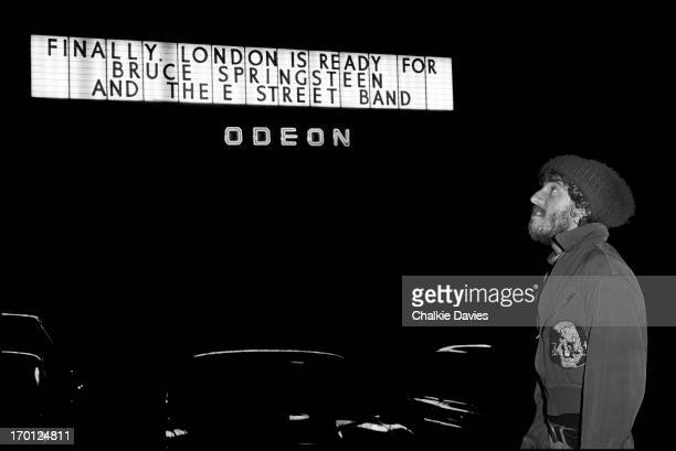 Bruce Springsteen sees the marquee announcing his arrival over the doors of the Hammersmith Odeon London before his first UK concert on 18th November...