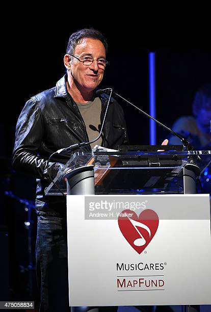 Bruce Springsteen speaks at the 11th Annual Musicares Map Fund Benefit concert at Best Buy Theater on May 28 2015 in New York City