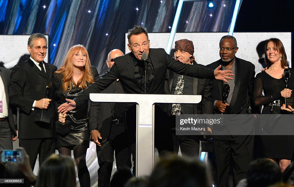 Bruce Springsteen speaks onstage with The E Street Band at the 29th Annual Rock And Roll Hall Of Fame Induction Ceremony at Barclays Center of Brooklyn on April 10, 2014 in New York City.