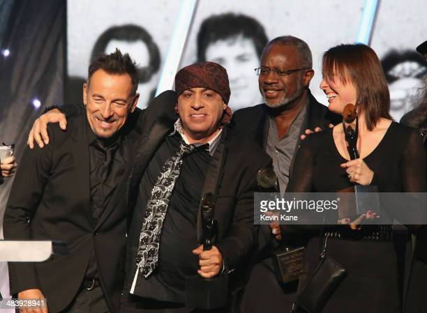 Bruce Springsteen Steven Van Zandt David Sancious and Victoria Clemons pose onstage at the 29th Annual Rock And Roll Hall Of Fame Induction Ceremony...
