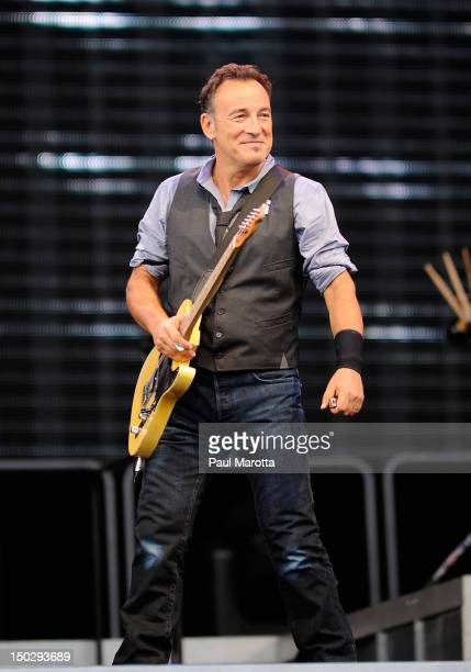 Bruce Springsteen the E Street Band perform at Fenway Park on August 14 2012 in Boston Massachusetts