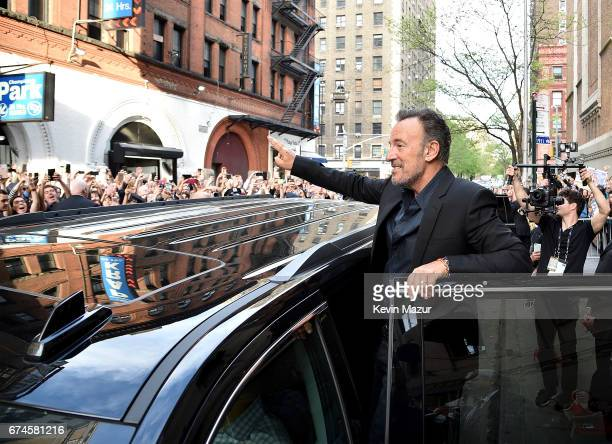 Bruce Springsteen waves to fans after Tribeca Talks: Bruce Springsteen And Tom Hanks - 2017 Tribeca Film Festival on April 28, 2017 in New York City.