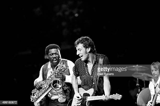 Bruce Springsteen with Clarence Clemons and Garry Tallent performing at Madison Square Garden in New York City on November 28 1980