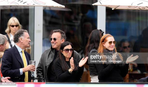 Bruce SpringSteen with his wife Patti watch Jessica Springsteen riding Cinncinnati La Silla competes in the The Royal Windsor Grand Prix during day...