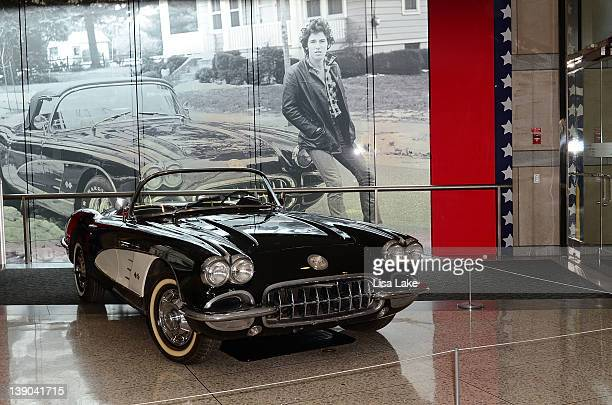 """Bruce Springsteen's vintage 1960 Corvette is seen on display at the """"From Asbury Park to the Promised Land: The Life and Music of Bruce Springsteen""""..."""