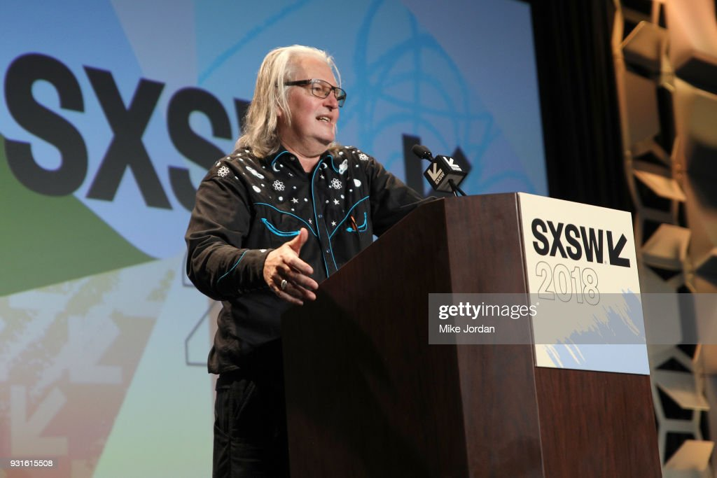 Bruce Sterling speaks onstage at Disrupting Dystopia: The Bruce Sterling Talk during SXSW at Austin Convention Center on March 13, 2018 in Austin, Texas.