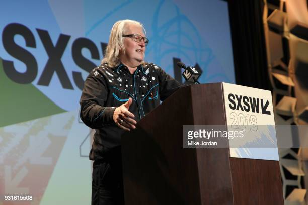 Bruce Sterling speaks onstage at Disrupting Dystopia The Bruce Sterling Talk during SXSW at Austin Convention Center on March 13 2018 in Austin Texas
