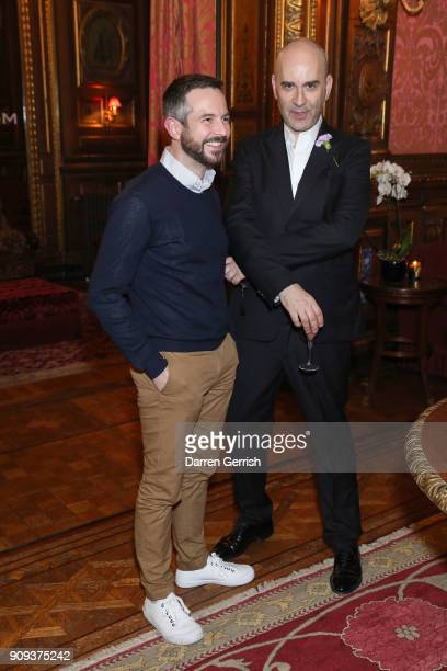 Bruce Sudano and designer Fabirzio Viti attends the Matchesfashioncom x Fabrizio Viti dinner at The Travellers Club on January 23 2018 in Paris France