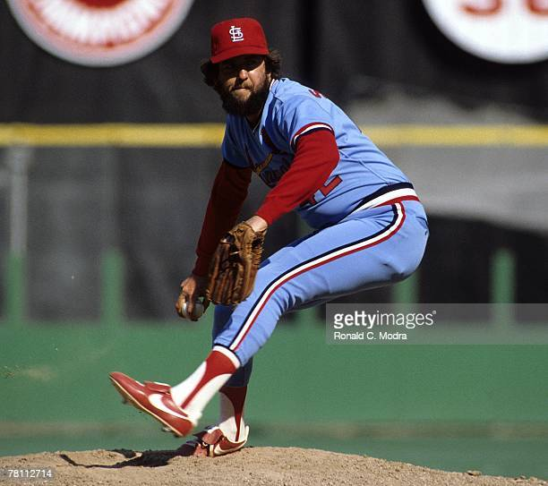 Bruce Sutter of the St Louis Cardinals pitching during a MLB game in June 1982