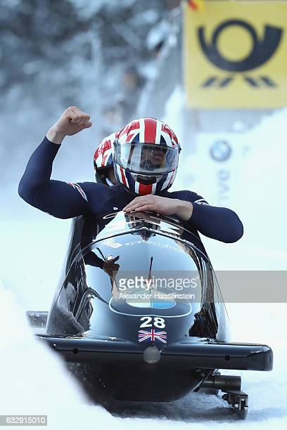 Bruce Tasker and his team mate Joel Fearon of Grait Britain celebrate after the 2nd run of the 2man Bobsleigh BMW IBSF World Cup at Deutsche Post...