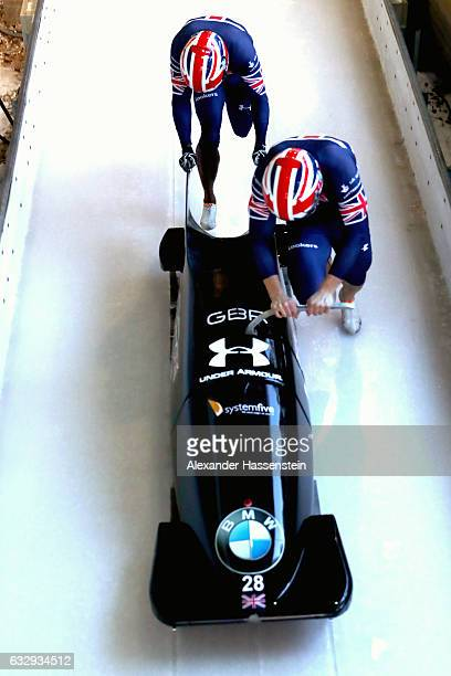 Bruce Tasker and his team mate Joel Fearon of Great Britain competes at the first run of the 2man Bobsleigh BMW IBSF World Cup at Deutsche Post...
